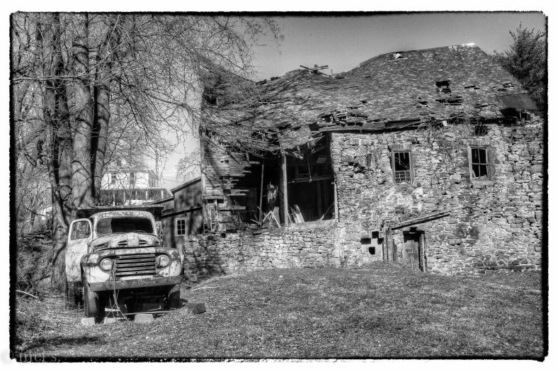 Carrol Mill with truck--b&w